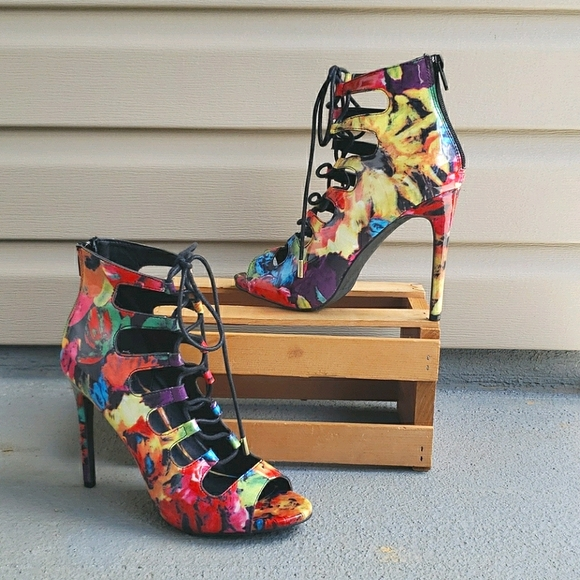 Candies multi colored heeled boot